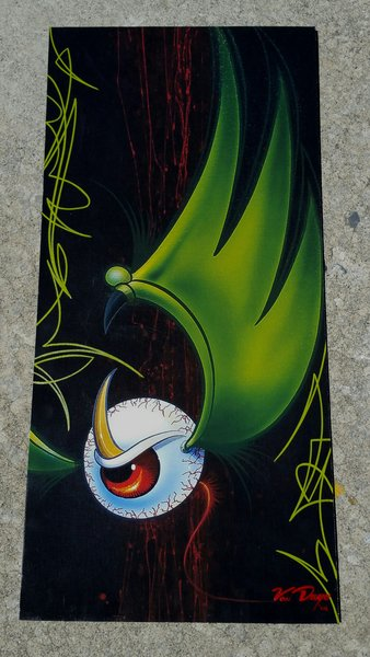 "Green PINSTRIPED ""Artist Proof""- Canvas Mounted Pinstriped Flying Eyeball"