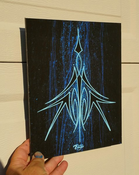 CANVAS MOUNTED Blue Pinstiping - Art Print
