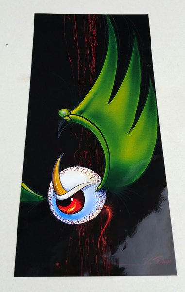 LARGE Green Flying Eyeball - Glossy Art Print