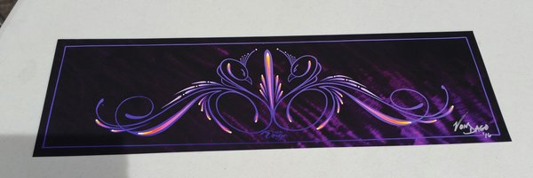 Purple pinstriped Swans - Glossy Art Print