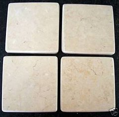 Natural Crema Marble Stone Coasters Set of 4
