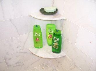 White Marble Shower Corner Shelf Set
