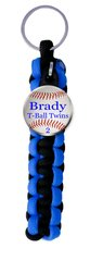 Paracord Key Ring with Personalized Baseball Charm. You choose Name, Team Name, Font Color and Paracord Colors