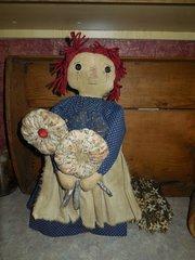 Primitive Handmade Raggedy Ann Doll