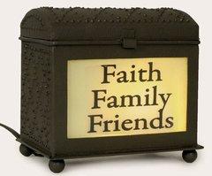 INSPIRATIONAL WAX WARMER-FAITH FAMILY FRIENDS-RUSTIC BROWN