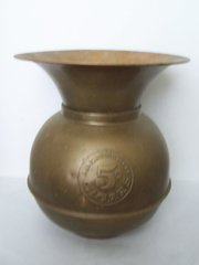 EARLY 1900's SPITOON, ALL FAMOUS HAVANA 5¢ CIGARS BRASS/COPPER