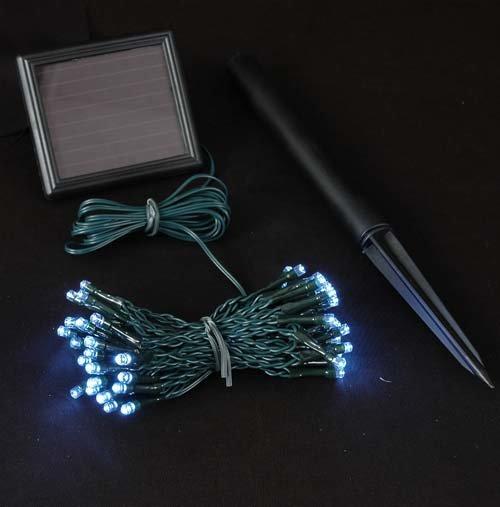 Solar Led String Lights Warm White : Solar 100 LED String Light Green Cable - Warm White LED LIGHTING