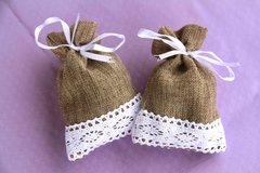 Brown Tweed Sachet with Lace