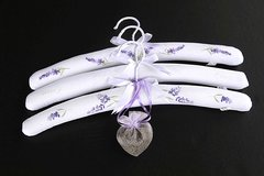 Embroidered Hangers with Heart Sachet (set of three)