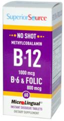 Superior Source B-12 1000mcg, with B-6 & Folic Acid (Sublingual tablet)