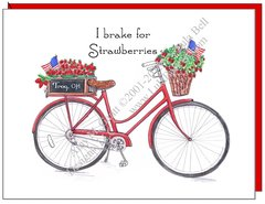 I brake for Strawberries - Red Bike Boxed Note Cards