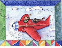 Flying with Buddy Birthday Greeting Card