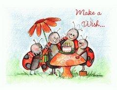 Ladybug Party Birthday Greeting Card
