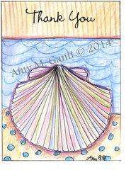 Thank you - Beach Rainbow Shell Greeting Card