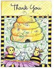 Queen Bee Having Tea Thank You Boxed Note Cards