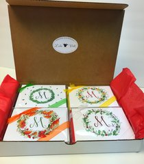 Single Initial Gift Box - - 4 Season Wreath Monogram Boxed Note Card Gift Set