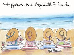 """Coastal - Bathing Beauties """"Happiness is a day with friends"""" Boxed Note Cards"""