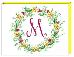 Single Initial - Spring Wreath Boxed Note Cards