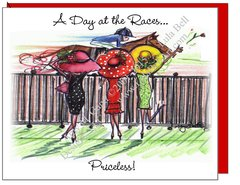 """Racing Divas ~ """"A Day at the Races...Priceless!"""" Note Cards"""
