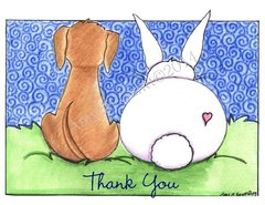 Puppy Love Thank You Greeting Card