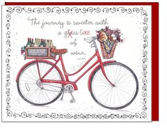 Red Vintage Bike and Wine Boxed Note Cards