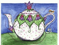 Violet Teapot Thank You Greeting Card