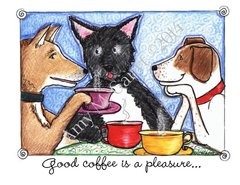 Dogs Drinking Coffee Friendship Greeting Card
