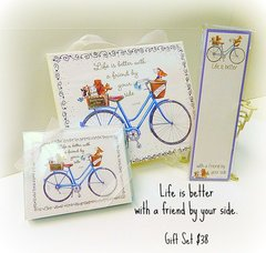 """""""Life is better with a friend by your side"""" Blue Bike and Dogs Gift Set"""