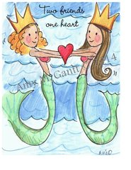 Beach Mermaid Friends Friendship Greeting Card