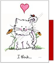 Valentine - Kitty Love Bug Greeting Card