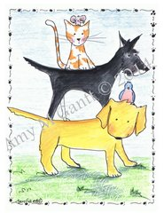 Pets Friendship Greeting Card