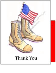 Military Boots Thank You Boxed Note Cards