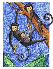 Wild Monkeys Birthday Greeting Card