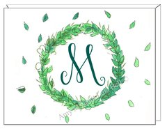 Green Wreath Monogram Boxed Note Cards