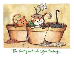 Gardending Kitties Friendship Greeting Card