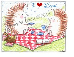 Hedgehog Picnic Friendship Greeting Card