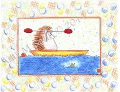 Thank you -Hedgehog Kayaking Greeting Card