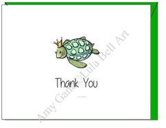Turtle Princess Thank You Boxed Cards