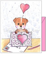 Valentine - Sending Puppy Love Greeting Card
