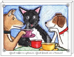 Dogs Drinking Coffee Boxed Note Cards