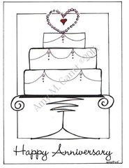 Anniversary - Anniversary Cake Greeting Card