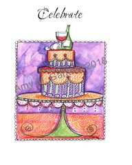 Cheers - Cake with Wine Greeting Card