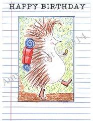 Hedgehog Hiking Birthday Greeting Card