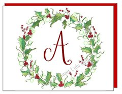 Winter Wreath Monogram Boxed Note Cards