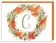 Fall Wreath Monogram Boxed Note Cards