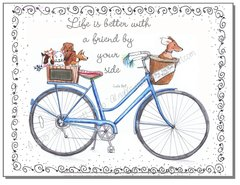 Blue Bike Friendship Greeting Card