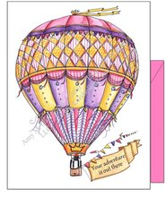 """Hot Air Balloon Pink ~""""Your adventure is out there"""" Boxed Note Cards"""