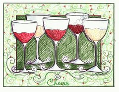 Cheers to friends Wine Boxed Note Cards