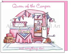Pink Vintage Camper ~ Queen on the Camper Boxed Note Cards