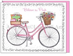 Believe in Pink - Pink Bike Boxed Note Cards